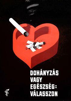 Smoking Or Health: Make Your Choice (Tamássi, Zoltán - Polish Posters, Retro Illustration, Grafik Design, Graphic Design Typography, Budapest, Smoking, Health Care, Web Design, Advertising