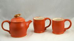 Coral Satin Tea Set with Brown Bird Knob - Hand thrown Stoneware Pottery - ceramic tea pot and two tea cups by muddywaterscc. Explore more products on http://muddywaterscc.etsy.com