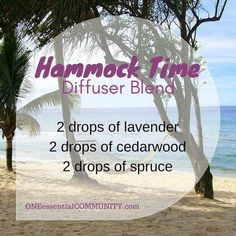 "Anyone need to chill out and relax? Or know someone else who needs to? :) Try this ""Hammock Time"" diffuser blend of lavender, cedarwood, and spruce. It's calming and grounding- just what I need on this beautiful (but hectic) summer day."