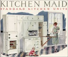"""This """"all in one"""" built in was a housewife's dream work space. All her necessary supplies for a fair number of daily chores were designed to be at arm's length. Other companies like Curtis Woodwork, which did millwork similar to Kitchen Maid, competed for the same market."""