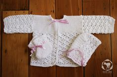 Beautiful white crocheted baby set - cardigan, booties and bonnet. Available in the Daisy Doe shop www.zibbet.com/... #crochet #baby #christening #set #clothes #gift #babyshower #handmade #white #wool #yarn $55 daisy-doe-zibbet