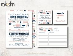 Stock The Kitchen Bridal Shower : Invitation Suite - Recipe Card - Recipe Card Insert - Thank You Favor Tag - Digital - #1105 Blush