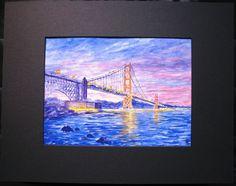 Basia & Yuriy original watercolour titled  Golden Gate Bridge . Golden Gate Bridge, Watercolour, The Originals, Painting, Art, Pen And Wash, Art Background, Watercolor Painting, Watercolor