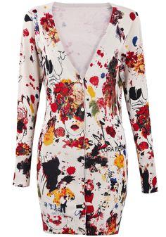 Apricot V Neck Floral Knit Long Cardigan - Sheinside.com