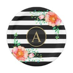 Vintage Floral Gold Monogram Black White Striped Paper Plate - autumn gifts templates diy customize