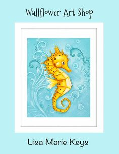 Sea Horse Art Children's Wall Art 8x10 Print by WallFlowerArtShop, $18.00