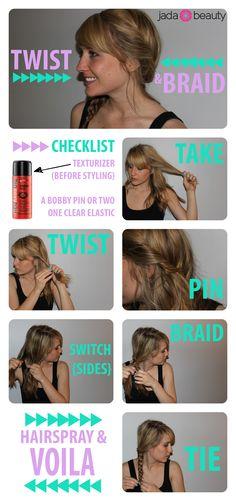 twist & braid - easy #hair #tutorail! Pin now, try later.