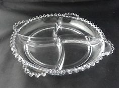 Vintage Elegant Glass Imperial Candlewick 4 Section Candy Nut Dish