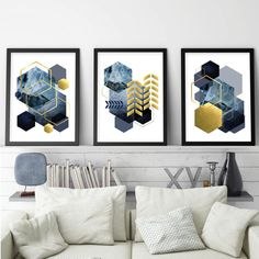 A set of 3 geometric downloadable prints in navy blue with gold accents.  For the DIYer in you, instantly download your favourite artwork, take them to your local print shop or upload to an online print service, frame them in your own frames and have them on your wall ASAP! #setof3prints #printables #printableart #trendingnowart #downloadableprints #modernartprints #geometricprints #navygoldart #urbanepiphany