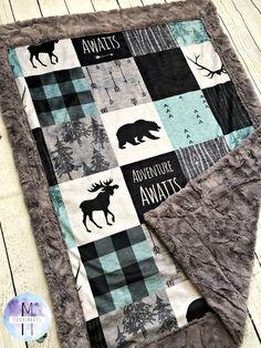 Moose Baby Blanket Navy Grey Gray Baby Boy Quilt Antler Arrow Wild Free Modern Minky Blanket Patchwork Woodland Crib Quilt Baby Boy Quilt