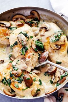 Creamy Parmesan Garlic Mushroom Chicken is ready in just 30 minutes and the parmesan garlic sauce will wow the entire ...