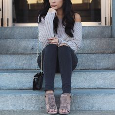 Taupe sweater. Gray denim. Fringe heels. Fall outfit.