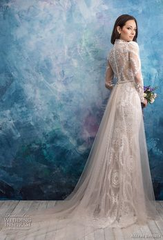allure bridals fall 2018 bridal long sleeves illusion high neck sweetheart neckline full embellishment elegant fit and flare wedding dress a line overskirt lace back sweep train (4) bv -- Allure Bridals Fall 2018 Wedding Dresses | Wedding Inspirasi #wedding #weddings #bridal #weddingdress #bride ~