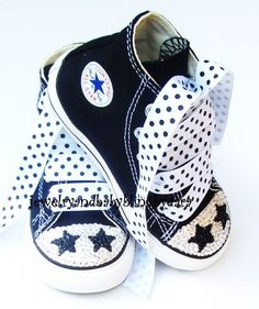 Baby Infant Toddler BLACK STARS Swarovski Crystal Bling Chuck Taylor All Star Black Hi-Tops Sneakers Shoes. $89.99, via Etsy. If only I had $90 to spend on kids chuck taylors...lol.