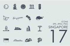 17 Singapore icons by Palau on Creative Market