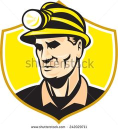 Illustration of a miner wearing hard hat helmet with light looking to the side set inside shield crest on isolated background done in retro style. #miner #retro #illustration