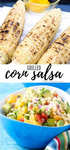 Corn Salsa is easy to make and full of fresh seasonal ingredients. Grilled Corn, tomatoes, spicy chile peppers, avocado and more make this sweet-and-spicy salsa a perfect dip or relish on grilled meats. #salsa #corn #easyrecipes