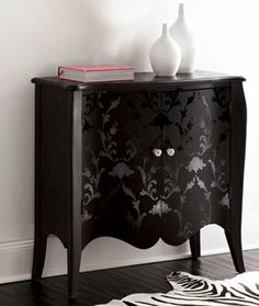 GORGEOUS Damask painted Chest, painted matte with gloss on top, looks like velvet...♥ this!