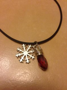 Silver snowflake & silver wrapped Red crystal drop on leather necklace  Winter necklace  boho Christmas red  on Etsy, $15.00