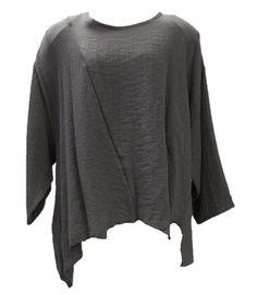 AKH Fashion Lagenlook Viskose Leinen Shirt asymetrisch in schlamm XXL Mode bei www.modeolymp.lafeo.de