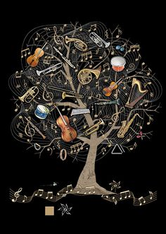 Bug Art Music Tree greetings card Embossed with gold and silver foil. Music Pictures, Art Pictures, Art Hipster, Musik Wallpaper, Music Sketch, Music Tree, Music Drawings, Music Artwork, Bug Art