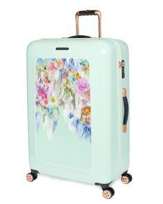 Large sugar sweet floral suitcase - Pale Green  da0c69938df1