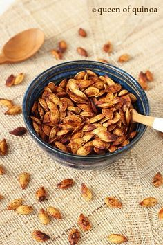 Chili Roasted Pumpkin Seeds - great source of zinc to boost your immune system amongst other health benefits!  Tip: can also let soak in table salt water (very salty water) overnight for added iodine to support your thyroid.