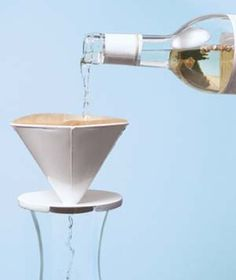 Broken cork....no problem. Coffee Filter as Wine Strainer---When the cork crumbles, salvage a bottle of wine by slowly pouring it through a filter into a pitcher or carafe. That way your $25 Fume Blanc won't go down the drain.