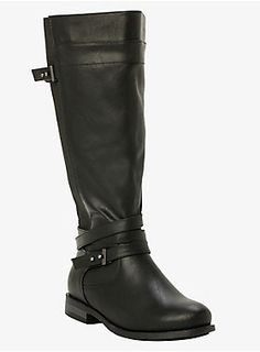 """Black faux-leather creates a moto-inspired vibe. Multiple straps (detailed with hematite embellishments) wrap around the ankle for a contemporary touch. Stretch gore panels form to your calf and keep you comfy.Calf fit by size: 7 fits up to 17.13"""" 8 - 17.52"""" 9 - 18.31"""" 10 - 18.70"""" 11 - 19.09"""" 12 - 19.49"""""""