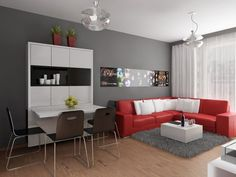 Apartment, L Shaped Red Leather Sofa Grey Fur Rug Square White Coffee Table Two Glass Pendant Lamps White Dining Table Four Black Metal Dining Chairs Dark Grey Wall White Wall Ceiling White Transparent Curtain Light Wood Flooring: Interesting Design of Very Small Apartment And Photos