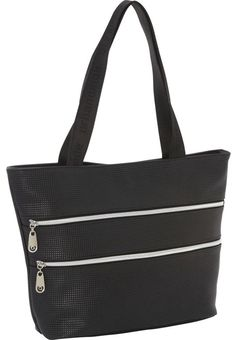 """Urban Oxide Women's Voyage Tote Purse Bag (Black). Trendy Contemporary Design. Has 5 Pockets Total. Features Abstract Circle Pattern Lining. Silver-Toned Exterior Zippers Add a Nice Touch. Measures 15"""" x 11"""" x 4.5"""" w/ 10"""" handle drop."""