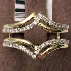 14kt Yellow Gold Split Shank Solitaire Enhancer Diamonds Ring Guard Wrap…