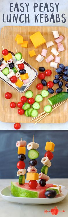 Skewer your kids' favorite veggies, fruit and deli meat for these easy lunch skewers! #backtoschool
