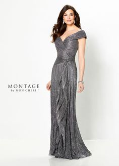 Montage By Mon Cheri 219975 - Have your own red carpet moment in this novelty stretch sheath with cap sleeves, a wide V-neckline with a portrait collar, an asymmetrically ruched bodice, a dropped waistline, side cascading ruffles and a sweep train. Mob Dresses, Types Of Dresses, Formal Dresses, Mother Of The Bride Dresses Long, Mothers Dresses, Groom Wedding Dress, Wedding Dresses, Wedding Wear, Montage By Mon Cheri