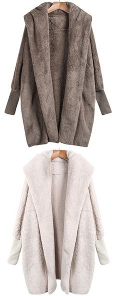 This Lapel Long Sleeve Loose Coat is a fall must! So cozy. So comfortable. And so cute. Click for more detailed information at shein.com