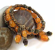 Orange Wrap Bracelet - Brown & Orange Bracelet - Bohemian Bracelet - Hippie Bracelet - Memory Wire Bracelet - Boho Bracelet TDC1017