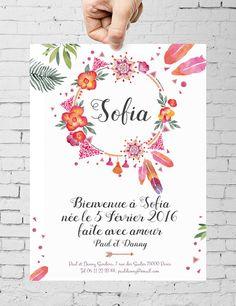 Faire Part Naissance Personnalisé Bohème Flyer par SpilloDesign