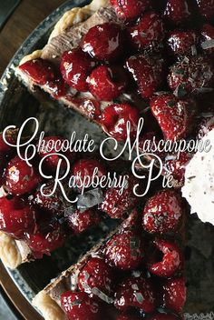 Chocolate Mascarpone Raspberry Pie from PasstheSushi.com