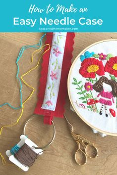 Learn how to make a felt needle case for your hand embroidery with this simple tutorial. Never have tangled embroidery threads again. #feltneedlecase #beginnerhandembroidery Embroidery Patterns Free, Felt Patterns, Embroidery For Beginners, Sewing For Beginners, Hand Embroidery, Embroidery Stitches, Cute Sewing Projects, Sewing Hacks, Sewing Crafts