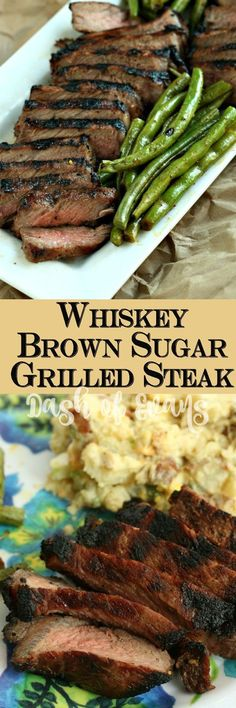 for a perfect grilled steak? This Whiskey Brown Sugar steak has you covered--thanks to Carla Hall's awesome marinade! via for a perfect grilled steak? This Whiskey Brown Sugar steak has you covered--thanks to Carla Hall's awesome marinade! Grilled Steak Recipes, Grilling Recipes, Meat Recipes, Cooking Recipes, Healthy Recipes, Grilled Steaks, Grilled Meat, Dinner Recipes, Barbecue Recipes Steak