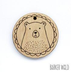 Classic Bear Pendant  Pyrography Jewelry Wearable by BarkerWild barkerwild.com