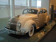 1934 Chrysler Airflow - Art Deco - Designed by Carl Breer (from the collection at the Walter P. Chrysler Museum in Auburnm Hills, MI Chrysler Models, Chrysler Cars, Chrysler Vehicles, Chrysler Voyager, Retro Cars, Vintage Cars, Antique Cars, Streamline Moderne, Carros Chrysler