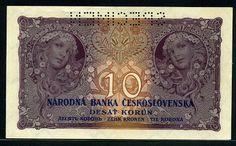 Czechoslovakia money currency banknotes 10 Czech korun Alphonse Mucha