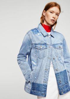 Rips oversize denim jacket | MANGO