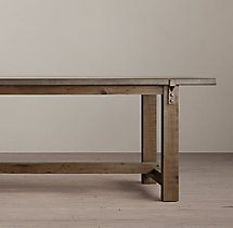 This Reclaimed Wood Zinc Strap Dining Table from Restoration