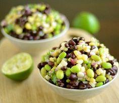 Black bean, corn, edamame salad + fresh cilantro.