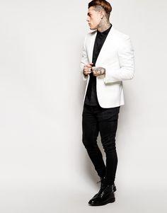Stephen James Grateful Thread White Tuxedo Jacket Shawl Collar ❤️