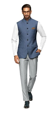 Sleek and sophisticated, our Nice Nehru Vest brings together European craftsmanship with Indian heritage and style. Indian Formal Wear, Formal Attire For Men, Mens Indian Wear, Indian Men Fashion, Groom Fashion, Indian Wedding Suits Men, Wedding Dress Men, Designer Suits For Men, Designer Clothes For Men