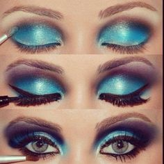 Blue and purple eye makeup