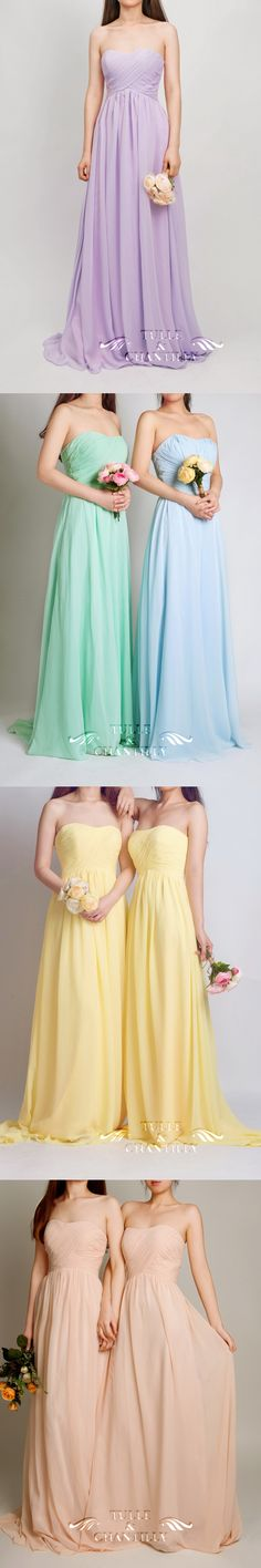 pretty pastel long sweetheart bridesmaid dresses 2015 in lilac, mint, pale yellow and rose